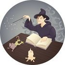 Wizard,Book,Magic,Mouse,Magic Wand,Candle,Men,Change,Spooky,Learning,Witchcraft,Problems,Student,Concepts And Ideas,Mystery,Only Men,Illustrations And Vector Art,Mid Adult Men,Failure,Animal,Failure,Halloween,People,Young Men,Frog