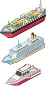 Nautical Vessel,Container Ship,Industrial Ship,Passenger Ship,Cartoon,Yacht,Cargo Container,Transportation,Machinery,Ilustration,Mode of Transport,Transportation,Illustrations And Vector Art