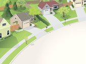 House,Community,Residential District,Residential Structure,Street,Suburb,Landscaped,Vector,Garage,Ilustration,Front or Back Yard,Driveway,Tree,Green Color,Sidewalk,Fence,Lawn,Summer,Avenue,Copy Space,Gray,Modern Life,Homes,Architecture And Buildings,Concepts And Ideas,Brown,Beige