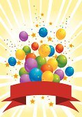 Celebration,Banner,Balloon,Birthday,Confetti,Party - Social Event,Star Shape,Ribbon,Parties,Holiday Backgrounds,Birthdays,Holidays And Celebrations,Light Beam,colorful balloons,Copy Space