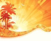 Beach,Summer,Sunset,Tropical Climate,Palm Tree,Heat - Temperature,Backgrounds,Vacations,Island,Orange Color,Ilustration,Silhouette,Sunlight,Swirl,Vector,Palm Leaf,Computer Graphic,Yellow,Coconut Palm Tree,Back Lit,Sunbeam,Design,Digitally Generated Image,Tranquil Scene,Flowing,Curve,Vibrant Color,Bright,Wave Pattern,Copy Space,Bird,Beaches,Summer,Illustrations And Vector Art,Nature,Travel Locations