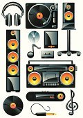 Symbol,Music,Boom Box,Sound,Speaker,Audio Equipment,Record,Headphones,Group of Objects,CD,Interconnect,Audio Cassette,Radio,Stereo,Turntable,Electrical Equipment,Tape Recorder,Cable,Equipment,Smart Phone,Modern,Entertainment,Musical Note,MP3 Player,Electronic Organizer,Bass,Black Color,Treble Clef,Shiny,Personal Data Assistant,Arts And Entertainment,Music,Vector Icons,Arts Symbols,Illustrations And Vector Art,Treble