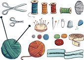 Wool,Sewing,Thread,Sewing Needle,Ball Of Wool,Knitting Needle,Sewing Kit,Craft Product,Symbol,Seam,Pin Cushion,Button,Sewing Item,Icon Set,Needlecraft Product,Thimble,Scissors,Straight Pin,Crochet Hook,Tape Measure,Drawing - Art Product,Zipper,Isolated,Isolated On White,Illustrations And Vector Art,Isolated Objects,Safety Pin,Objects/Equipment,Isolated-Background Objects,Vector Icons,Household Objects/Equipment