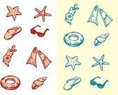 Starfish,Animal Shell,Sketch,Drawing - Art Product,Ilustration,Diving Flipper,Doodle,Vector,Collection,Outline,Suntan Lotion,hand drawn,Slipper,Isolated Objects,isolated objects,Painted Image,Summer,Nature,Illustrations And Vector Art,Set,Swim Ring,sun glass