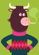 Cow,Pattern,Smoke - Physical Structure,Smoking,Sweater,Modern,Cartoon,Characters,Cool,Humor,Vector,Bull - Animal,Green Color,Pink Color,Fun,Ilustration,Staring,Serious,Horned,Vector Cartoons,Mammals,Farm Animals,Illustrations And Vector Art,Animals And Pets