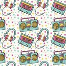 Music,Audio Cassette,Pattern,Pink Color,Boom Box,Stereo,Headphones,Seamless,1940-1980 Retro-Styled Imagery,Repetition,Vector,Retro Revival,Computer Graphic,Design,Ilustration,Backgrounds,Blue,Star Shape,Vibrant Color,Vector Backgrounds,Wallpaper Pattern,Music,Backdrop,Yellow,Illustrations And Vector Art,Arts And Entertainment
