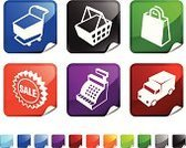 Shopping Bag,Delivering,Shopping Basket,Cash Register,Computer Icon,Icon Set,Sale,Black Color,Retail,Sign,Business,Land Vehicle,Square,Shopping Cart,Square Shape,Page Curl,Three-dimensional Shape,Overnight Delivery,Vector,Green Color,Design,Label,Red,Blue,Ilustration,Shiny,Shipping Truck,Folded