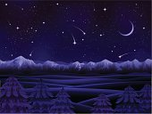 Night,Sky,Mountain,Star - Space,Snow,Forest,Mountain Range,Landscape,Vector,European Alps,Moon,Dark,Taiga,Scenics,Tree,Computer Graphic,Star Field,North,Siberia,Horizon,Panoramic,Summer,Meteor,Rolling Landscape,Evergreen Tree,Cold - Termperature,Hill,Ilustration,Woodland,Non-Urban Scene,Horizon Over Land,Tranquil Scene,Outdoors,High Up,Horizontal,Mountain Peak,Snowcapped,Natural Land State,Boreal Forest,Backgrounds,Relief,Landscapes,Clear Sky,Illustrations And Vector Art,Gibbous Moon,Nature Backgrounds,Nature,Vector Cartoons,Land Feature,Nature,Fir Tree,Land,Blue