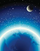 Star - Space,Moon,Earth,Star Shape,Space,Horizon,Globe - Man Made Object,Night,Planet - Space,Moon Surface,Sky,Sunrise - Dawn,Surface Level,Sea,Horizon Over Land,Blue,Sunbeam,Ilustration,Sphere,Vertical,Sunlight,Dark,Physical Geography,Illustrations And Vector Art,No People,Geological Feature,Travel Locations,Nature