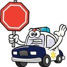 Car,Police Force,Cartoon,Police Car,Fun,Clip Art,Sign,Vector,Land Vehicle,Safety,Humor,Stop Sign,Ilustration,Do Not Enter Sign,Characters,Mascot,Security,Vector Cartoons,Hand Raised,Drawing - Art Product,Isolated,Industry,Anthropomorphic,Warning Sign,Illustrations And Vector Art,Law Enforcement And Crime,At Attention,Worried,Serious,Beckoning