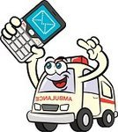 Ambulance,Mobile Phone,Text Messaging,Cartoon,Emergency Services,Healthcare And Medicine,Humor,Mascot,Message,Vector,Anthropomorphic,Characters,Ilustration,Technology,Vector Cartoons,Illustrations And Vector Art,Communications Technology,Industry,Health Care,Isolated,Clip Art,Communication,Drawing - Art Product,Fun