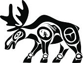 Moose,Indigenous Culture,Inuit,Haida,Art,North American Tribal Culture,Symbol,Vector,Animal,Black And White,Inuit Culture,Abstract,Ilustration,Nature,West Coast