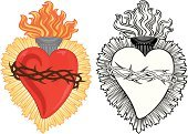Human Heart,Heart Shape,Spirituality,Milagro,Thorn,Religion,Flame,Crown Of Thorns,Flaming Torch,Vector,Black And White,Miracle,Concepts And Ideas,Illustrations And Vector Art,Religion,vector illustration,Red,No People,Lighting Equipment,Christianity
