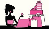 Shopping,Women,Silhouette,Fashion,Internet,Retail,Cartoon,Computer,E-Mail,Credit Card,Pink Color,Laptop,Ilustration,Customer,Vector,Female,Home Shopping,Gift,Dress Shoe,Shopaholic,Buying,Elegance,Profile View,Shopping Bag,Style,Package,Femininity,Consumerism,Characters,Wrapping Paper,Commercial Activity,Vector Cartoons,Industry,People,Cute,Retail/Service Industry,Pastel Colored,Illustrations And Vector Art