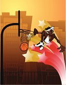 Basketball,Basketball - Sport,Cartoon,Slam Dunk,Basketball Player,African Ethnicity,Urban Scene,Sport,Male,Vector,Team Sports,Vector Cartoons,Sports And Fitness,Competition,Abstract,African Descent,Ilustration,Illustrations And Vector Art