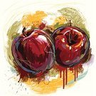 Apple - Fruit,Paintings,Painted Image,Fruit,Oil Painting,Red,Healthy Eating,Food,Still Life,Pastel Colored,Freshness,Vector,Ilustration,Grunge,splats,Brush Stroke,Vitamin Pill,Food And Drink,Illustrations And Vector Art,rendered,Food Backgrounds,Fruits And Vegetables,Vector Backgrounds,Square,Composition