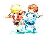 Soccer,Child,Little Boys,American Football - Sport,Ilustration,Football,Playing,Caucasian Ethnicity,Ball,Remote,Watercolor Painting,Painted Image,Lifestyle,Ethnicity,Babies And Children,Sports And Fitness,Isolated,Team Sports,Image,Sport,White,Multi Colored