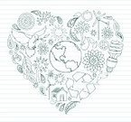 Earth,Green Color,Symbols Of Peace,Doodle,Sketch,Heart Shape,Love,Earth Day,Tree,Leaf,Recycling Symbol,Dove - Bird,Peace Symbol,Environmental Conservation,Drawing - Art Product,Ilustration,Wind Power,Peace On Earth,Pencil Drawing,Alternative Energy,Pen And Marker,Lined Paper,Solar Energy,Illustrations And Vector Art,Young Adults,Lifestyle,Nature