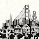 San Francisco County,Golden Gate Bridge,California,Painted Ladies,Built Structure,San Francisco Bay Area,Building Exterior,Architecture,Cityscape,Ilustration,Vector,Architecture And Buildings,Travel Locations,Illustrations And Vector Art