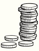 Coin,Stack,Currency,Savings,Wealth,Treasure,Finance,Side View,Large,White,Isolated,Abundance,Business Symbols/Metaphors,Business Concepts,Isolated On White,Business