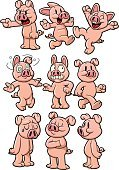 Pig,Cartoon,Sadness,Depression - Sadness,Happiness,Cheerful,Cute,Dizzy,Fear,Vector,Laughing,Displeased,Crying,Running,Walking,Furious,Domestic Pig,Arms Crossed,Characters,Pride,Pointing,Pink Color,Standing,Animals And Pets,Staring,Illustrations And Vector Art,Farm Animals,Vector Cartoons