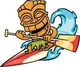 Tiki,Surfboard,Paddleboard,Oar,Surfing,Cartoon,Surf,Beach,Sport,Wave,Statue,Sea,Water,Cheerful,Beaches,Vector Cartoons,Water,Paddle Surf,Illustrations And Vector Art,Happiness,Sports And Fitness,Travel Locations