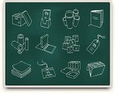 Chalk Drawing,Blackboard,Symbol,Book,File,Brochure,Box - Container,Icon Set,Map,Document,Newspaper,Ring Binder,Label,Reminder,Ilustration,Paper,Carton,Concepts,Message,Luggage Tag,Business,Illustrations And Vector Art,Clip Art,Business Symbols/Metaphors,Vector,Name Tag