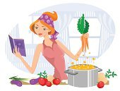 Cooking,Women,Domestic Kitchen,Cookbook,Stereotypical Housewife,Mother,Recipe,Soup,Reading,Boiling,Cooking Pan,Healthy Eating,Vegetable,Learning,Vector,Stew Pot,Bandana,Tomato,Holding,Vegetable Soup,Young Women,Eggplant,Beautiful,Carrot,Headscarf,Celery,Concepts And Ideas,Healthy Lifestyle,Food And Drink,People,Antioxidant,Kitchen Equipment,Leek,Nutrient