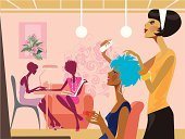 Hair Salon,Beauty Spa,Hairdresser,Human Hair,Manicure,Beauty,Women,Fingernail,Cartoon,Hairstyle,Inside Of,Silhouette,Fashion,Vector,Ilustration,Lifestyles,Service,Style,Domestic Room,Dress,Personal Accessory,Group Of People,Beautiful,Paintings,Indoors,Occupation,Clothing,Beauty Product,Femininity,Elegance,Multi Colored,Illustrations And Vector Art,Beauty And Health,People,Makeup/Cosmetics,Cute,Vector Cartoons,Fashionable,Female,Relaxation