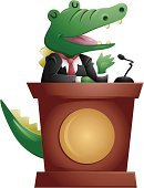 Podium,Crocodile,Public Speaker,Animal,Lectern,Speech,Cartoon,Vector,Clip Art,Ilustration,Concepts And Ideas,Isolated,Animals And Pets,Illustrations And Vector Art,Reptiles,Reptile,Character Traits,Cute,Vector Cartoons,Cut Out,Talking,Concepts,Ideas