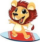 Lion - Feline,Cartoon,Animal,Surfing,Surfboard,Cub,Vector,Humor,Characters,Summer,Facial Expression,Young Animal,Smiley Face,Single Object,Fun,Standing,Wild Animals,Front View,No People,Vector Cartoons,Illustrations And Vector Art,One Animal,Isolated,Animals And Pets,Sports And Fitness,Full Length,Water,Color Image,Isolated On White