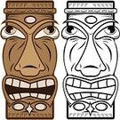 Tiki,Totem Pole,Hawaii Islands,Mask,Indigenous Culture,Wood - Material,Black Color,1950s Style,White,Human Face,Isolated Objects,Arts And Entertainment,Brown,Illustrations And Vector Art