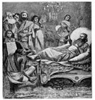Mordecai,Bed,Ilustration,Print,Ahasuerus,Old,King,Black And White,Spirituality,Old-fashioned,Religion,History,Illustrations And Vector Art,bible story,Night,Domestic Staff,Concepts And Ideas,Arts And Entertainment,Visual Art,Engraved Image,Bible,Religion,Christianity,Victorian Style