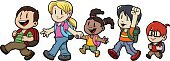 Child,Education,Walking,Cartoon,Backpack,Little Boys,Back to School,Jumping,Student,Vector,Marching,Elementary Age,Little Girls,Happiness,Cheerful,Cute,Ethnic,Preschooler,Asian Ethnicity,African Descent,Nerd,Latin American and Hispanic Ethnicity,Characters,Eyeglasses,Vector Cartoons,Industry,Illustrations And Vector Art,Blond Hair,Education,Brown Hair,Tan