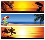 Beach,Sunset,Summer,Banner,Tropical Climate,Beach Umbrella,Outdoor Chair,Vacations,Palm Tree,Sea,Travel,Scenics,Sand,Backgrounds,Ilustration,Bird,Palm Leaf,Seascape,Design,Illustrations And Vector Art,Nature,Copy Space,Vector Backgrounds,Nature Backgrounds,Summer