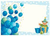 Birthday,Invitation,Clown,Balloon,Banner,Celebration,Placard,Sign,Ribbon,Gift,Gift Box,Holidays And Celebrations,Birthdays,Parties,Vector Backgrounds,Illustrations And Vector Art,Blue Balloons,Copy Space,Star Shape,Doll,graduated background