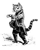 Domestic Cat,Undomesticated Cat,Boot,Retro Revival,Old-fashioned,Engraved Image,Old,Ilustration,Perrault,Fairy Tale,Fairy,Antique,Storytelling,French Culture,France,Black And White,Image,literary,Line Art,Characters,Charles Perrault,Illustrations And Vector Art,Literature,Design Element,High Contrast,Clip Art,Classic,Isolated On White,Cut Out,White Background,Close-up,Studio Shot,Vertical,Front View,Animals And Pets,Image Created 19th Century