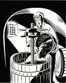 Wine,Cellar,Grape,Barrel,Basket,Woodcut,Window,Pottery Wheel,Pouring,Caucasian Ethnicity,Red Wine,Ilustration,Bunch,Food And Drink,Drinks,Industry,Light - Natural Phenomenon,Light Effect,Black Color,White,Black Background,Men,Mid Adult Men,Shade,People,Mature Men,One Man Only,Agriculture,Shadow,Vector,Red Grape