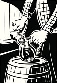 Wine,Pouring,Barrel,Woodcut,Pitcher,Cellar,White,Ilustration,Human Hand,Jug,Shade,Red Wine,Men,Drinks,Industry,Drinking,Vector,Agriculture,Alcohol,Food And Drink,Shadow,Black Color,Caucasian Ethnicity