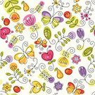 Floral Pattern,Summer,Flower,Seamless,Butterfly - Insect,Vector,Backgrounds,Wallpaper Pattern,Childishness,Decor,Decoration,Ornate,Ilustration,Green Color,Bright,Shape,Vector Ornaments,Vector Florals,Vector Backgrounds,Illustrations And Vector Art