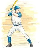 Baseball - Sport,Baseball Player,Hitting,Sport,Baseball Bat,Batting,Home Run,Professional Sport,Vector,Cleats,Men,Male,Actions,Ilustration,People,Athlete,Sports Uniform,Blue,Motion,Action,One Person,White,Competitive Sport,Sports And Fitness,Sports Team,Team Sports
