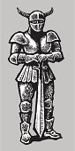 Knight,Suit of Armor,Warrior,Medieval,Weapon,Sword,Work Helmet,Protection,Pen And Ink,Ilustration,Vector