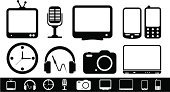 Symbol,Telephone,Intelligence,Television Set,Vector,Watch,Computer Icon,Smart Phone,Set,Electrical Equipment,Camera - Photographic Equipment,Microphone,Recorder,Visual Screen,Headphones,Laptop,Clock,The Media,Telecommunications Equipment,Computer,Isolated,Audio Equipment,Electric Plug,Computer Monitor,Headset,Joystick,Global Communications,Speaker,Telephone Receiver,Mobility,Sign,Receiver,Communication,Home Video Camera,jackplug,Vector Icons,photo camera,Electronics,Isolated-Background Objects,Illustrations And Vector Art,Interface Icons,Technology,Isolated Objects,photo-camera