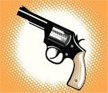 Handgun,Pop Art,Gun,Halftone Pattern,Spotted,Moire,Crime,Cartoon,Vector,Weapon,Bullet,Ilustration,Objects/Equipment,Concepts And Ideas,Defending,Aggression,Violence