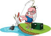Fishing,Fisherman,Cartoon,Pond,Humor,Tire,Lake,Leisure Activity,Recreational Pursuit,Relaxation,Outdoors,Vector,Labor Day,Catching,Biting,US Memorial Day,Catch of Fish,Sport,Pole,Illustrations And Vector Art,Water,Vector Cartoons,Actions,Sports And Fitness,Summer,Vacations