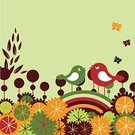 Bird,Flower,Tree,Retro Revival,Color Image,Butterfly - Insect,Cute,Ilustration,Two Parents,Beautiful,Vector,Nature,Arts And Entertainment,Illustrations And Vector Art,Holidays And Celebrations,Petal,Blossom,Plant