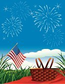 Picnic,Firework Display,Labor Day,Fourth of July,US Memorial Day,Basket,Picnic Basket,Summer,Patriotism,Flag,American Flag,Grass,USA,Summer,Holidays And Celebrations,Holiday Backgrounds,Blanket,National Flag,Nature