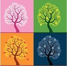 Tree,Four Seasons,Season,Life,Springtime,Pink Color,Blue,Autumn,Shape,Fruit,Green Color,Single Flower,Winter,Apple - Fruit,Leaf,Orange Color,Year,Tree Trunk,Weather,Snowflake,Concepts And Ideas,Plant,Illustrations And Vector Art,Nature,Time,Time