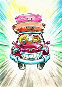 Journey,Ilustration,Watercolor Painting,Road,Fun,Travel,People,Czar,Small,Illustrations And Vector Art,Red,Image,Smiling,Travel Backgrounds,Relaxation,Speed,Multi Colored,Luggage,Suitcase,Travel Locations,Transportation,Cheerful,Vacations,Men,Women,Road Trip,Painted Image