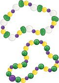 Mardi Gras,Bead,Necklace,Jewelry,Vector,White,Celebration Event,Throw Me Something Mister,Holidays And Celebrations,Green Color,Two Objects,Ilustration,Yellow,Purple